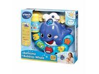 Cute bathtime whale friend baby toy that blows out bubbles