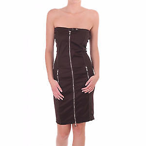 New Diesel Black Sexy Fitted Tube Dress with Full Frontal Zipper