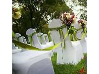 Best prices! 120 white chair covers & choice of sashes - to hire for weddings/events