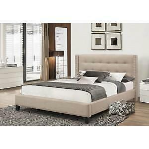 Beige Fabric Platform Bed with Nailhead Detail web exclusive deal (IF741)