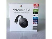 Google Chromecast (2nd Generation) Media Streamer - Black - Brand New - Sealed
