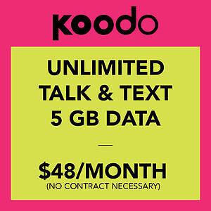 Koodo $48/month Unlimited 5GB LTE Data Plan