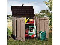 NEW Keter Garden Outdoor Storage Box Plastic Wood Effect Patio Furniture Weather Resistant IN HAND!