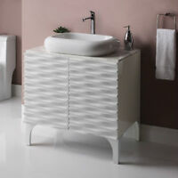 Decolav Sophia Vanity with Marble Top and above counter lavatory