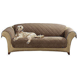 Sure Fit Soft Suede/Sherpa Pet Sofa Cover Coca, New