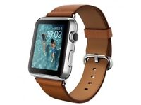 Apple I watch 42mm Stainless Steel Case with Saddle Brown Classic Buckle