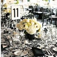 Stunning Black and White Damask Wedding Decor Guest & Head Table