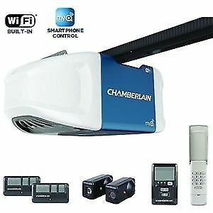 Chamberlain garage opener: 3/4hp belt; myQ; wifi installed $340