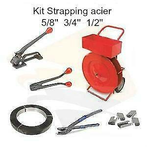 Strapping kit acier 5/8 '' - 3/4 - 1/2''  cerclage outils chariot tensionneur