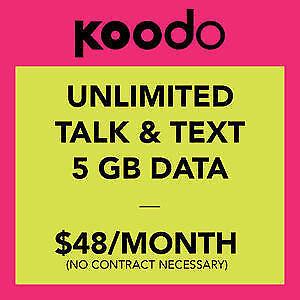 CHEAPEST !! Koodo plan $48 - 5GB UNLIMITED CANADA wide talk BYOP