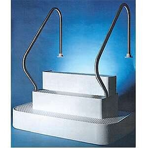 Inground pool steps with two rails