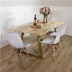 Industrial Style Dining Table White Or Gold