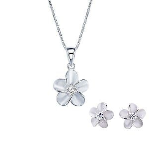 Reduced 36% - 925 Sterling Silver Poetic Flower Jewelry Set