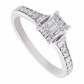 Diamond 0.44Ct 9Ct White Gold Ring Size J
