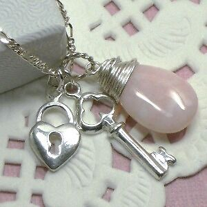 Heart and Key with Pink Stone