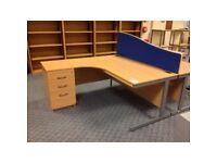 L-Shape Desk, Beech Office Corner Desks, Crescent Desks & 3 Drawer Pedestal + 1 Key. (20 available)