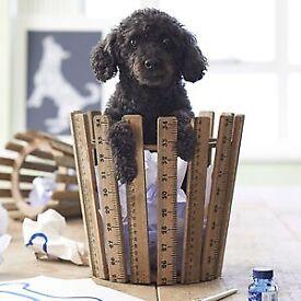 Wooden Waste paper Bin vintage rulers