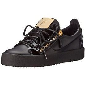 Giuseppe Trainers Black Leather trainers with Patent Leather Trim and gold zips