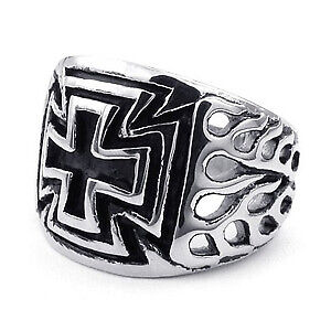 Mens Iron cross ring, size 12, Flames motif on side