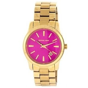 NEW - Michael Kors Runway Pink-Dial Gold Stainless Steel watch