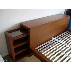 Malm bedframe with headboard storage