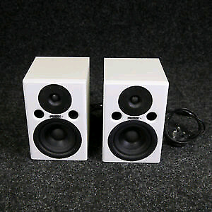 Fostex PM0.4 4 inch studio monitors in white with subwoofer