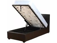 ******Brand New *****Single Storage Leather Bed with Mattress or frame available in black and brown
