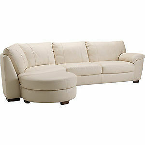Off White Leather IKEA Vreta Sectional Chaise Couch with Ottoman Cambridge Kitchener Area image 1