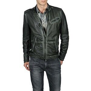 Brand NEW Diesel Men's Large Leprandis Textured Leather Jacket