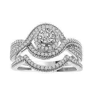 14kt White Gold Diamond Engagement Ring & Wedding Band Set 0.33ct