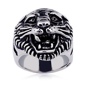 Mens Tigers Head Ring size 9