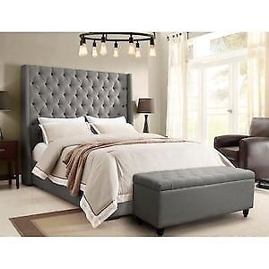 Beautiful Grey Park Avenue tufted bed frame - Queen