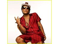 2 x Bruno Mars Tickets Manchester 02 May 2017, Seated Block 106 Row H