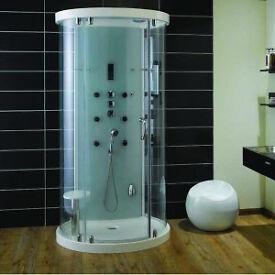 New Aqualux Crysta Round Steam Cabin 930mm x 1100mm