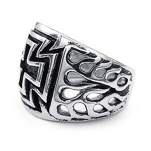 Mens Iron Cross ring with Flames on shank, size 12.