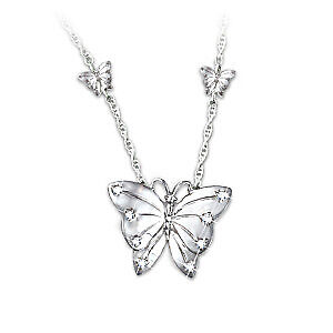 Butterfly Kisses Diamond Necklace by Bradford Exchange