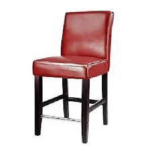 CorLiving Antonio Red Bonded Leather Counter Height Barstool