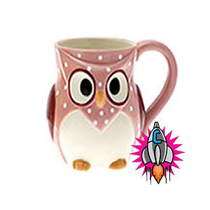 CUTE OWL VINTAGE COFFEE MUG LATTE CUP NEW IN OWL GIFT BOX YELLOW PINK & BLUE