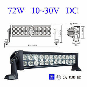 "HOT SALE! 12"" 72W Spot LED LIGHT BAR With Relay Hardness"