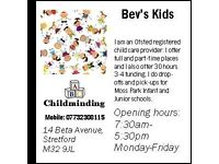 Full/part-time childminding places