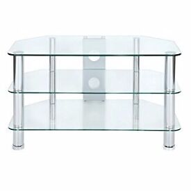 Clear Glass TV Stand With Chrome Legs