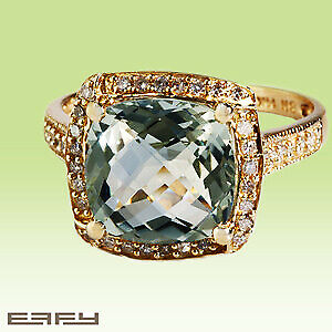Effy 1.3CT(tw) Diamond & Amethyst Ring In 14 KT Yellow Gold