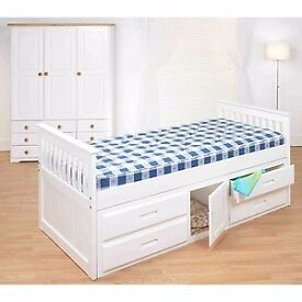 NEW Single Bed Pine Captain Childrens kids Storage with Drawers and Cupboard - White