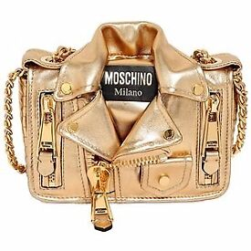 Moschino Motorbike rock style biker jacket handbag gold medium