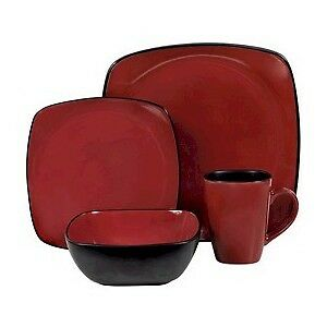 corelle black/chili red  6 place settings total 24 pieces