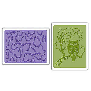 Sizzix  2PK : BATS & OWLS Embossing Folder set - $12