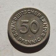 50 Pfennig Bank Deutscher Länder 1950 G