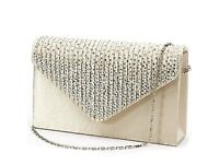 Diamante clutch bag in Champagne colour