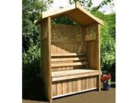 Pair of matching arbour seats/benches with storage compartments