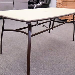 Metal and Glass Patio Table. IKEA. Espresso/Beige. New. Still in